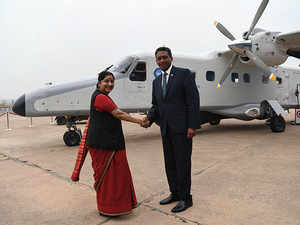 Watch: Sushma Swaraj hands over Dornier aircraft to Seychelles President Danny Faure