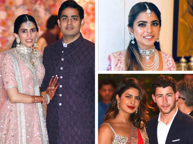 RIL Chairman Mukesh Ambani and his wife Nita threw a lavish pre-engagement bash for son Akash Ambani and soon-to-be daughter-in-law Shloka Mehta at their residence Antilia in Mumbai.  The biggies of Bollywood turned up in full strength to congratulate the new couple.  Here's a quick look at all the stunners from the high-profile party.