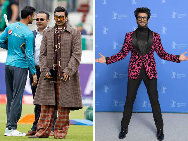 Ranveer Singh is all things Bollywood, over-the-top, and dramatic. Singh is synonymous with his theatrics and abundant energy, both on and off-screen. Add to that his bold, and out-of-the-box style, and you have a star who is not afraid to experiment. On his 33rd birthday, we revisit some typical, 'Befikre' Ranveer-kinda fashion moments that only he could pull off with élan.In Pic: Singh at the India-Pakistan World Cup match (L) and at the 69th Berlinale International Film Festival (R).