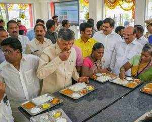 Watch: CM Naidu inaugurates 'Anna Canteen' in Vijayawada