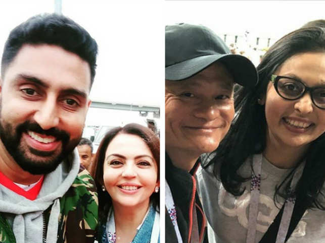 The who's who of the world flocked to Russia to catch the action at the World Cup. From the Ambanis (Mukesh, Nita, and Anant) to the Bachchans (Amitabh and Abhishek), B-town and India Inc jet set to the country to cheer for their favourite team.In Pic: Abhishek Bachchan with Nita Ambani (L), Vita Dani with Jack Ma (R).