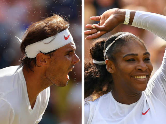 It's been a Wimbledon of upsets and early tumbles, quite literally. A photo album of some legends and their falls.In Pic: Rafael Nadal (L) and Serena Williams (R).
