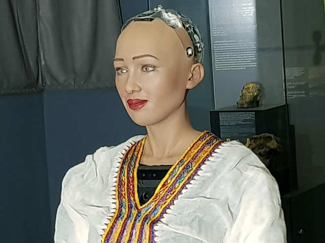 Humanoid Robot Sophia Humanoid Robot Sophia Visits India Falls In