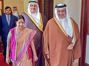 Sushma Swaraj with Bahrain's PM