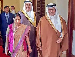 Sushma Swaraj with Bahrain's PM