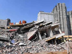Noida Building Collapse: 3 dead, many trapped in building