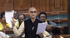 New Delhi: TDP MP Jayadev Galla speaks in the Lok Sabha on 'no-confidence motion...