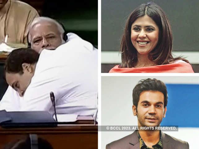 Hug of the decade? Rajkummar Rao, Ekta Kapoor react to Rahul Gandhi's embrace to PM Modi