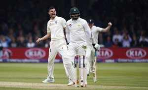 London : England's James Anderson celebrates the wicket of Pakistan's Azhar Ali ...