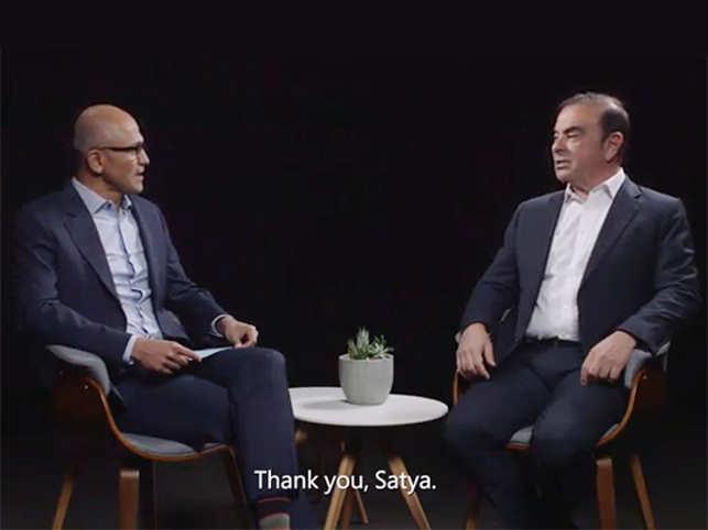 Satya Nadella and Carlos Ghosn