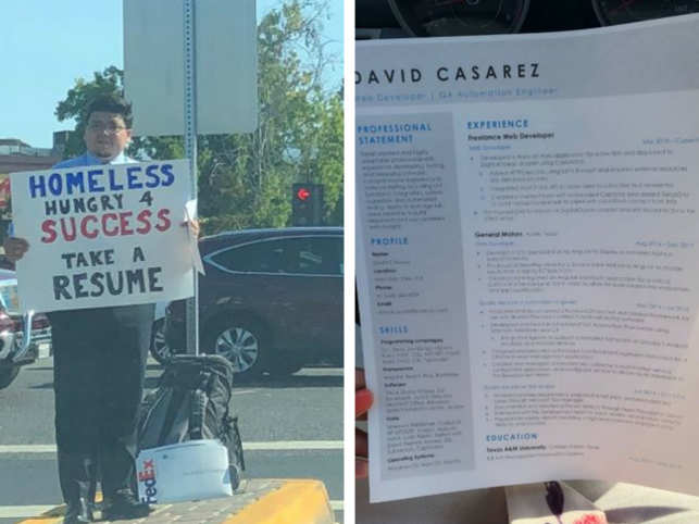 David Casarez: Homeless man hands out resumes at a roadside; gets ...