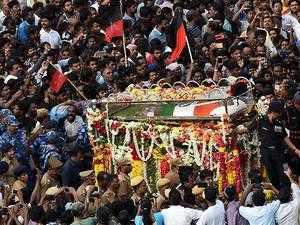 Karunanidhi's mortal remains laid to rest at Marina Beach
