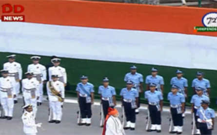 PM Narendra Modi inspects guard of honour at Red Fort.