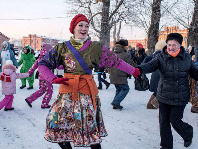 MIX AND MATCH: A local spruces up the traditional Russian garb with a modern touch