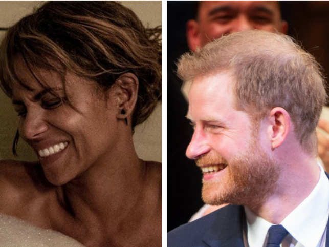 Halle Berry (L) and Prince Harry (R)