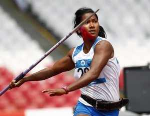 Jakarta : India's Swapna Barman throws the javelin in the heptathlon during the ...