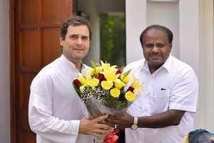 New Delhi: Karnataka Chief Minister HD Kumaraswamy meets Congress President Rahu...