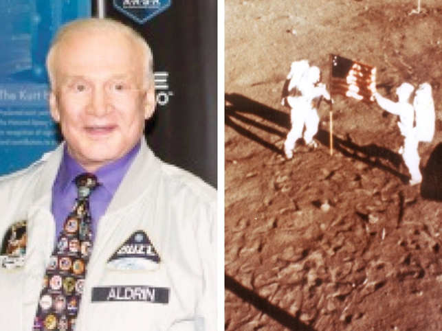 Buzz Aldrin (L) and Nasa's hangout picture of Neil Amstrong and Aldrin planting the flag on the moon