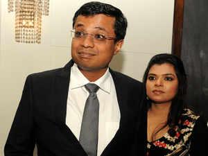 Sachin Bansal and wife Priya