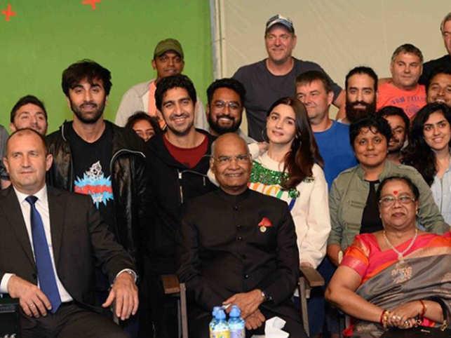From left (Ruman Radev, Ranbir Kapoor, Ramnath Kovind, Alia Bhatt)