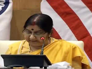 Sushma Swaraj briefs media as India-USA sign historic COMCASA agreement