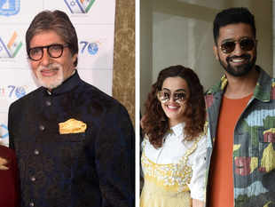 (L-R) Amitabh Bachchan, Taapsee Pannu and Vicky Kaushal