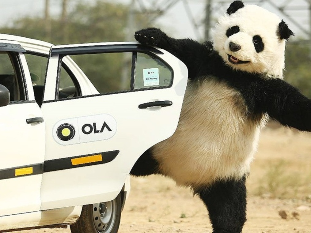 This panda is not endangered. Ola is feeding it.