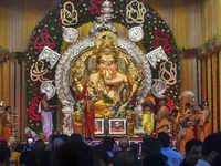 Mumbai's Ganesha idol decked up with gold & silver; committee gets insurance cover of Rs 265 cr