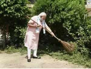 PM Modi sweeps, cleans premises of Baba Sahib Ambedkar School in Delhi