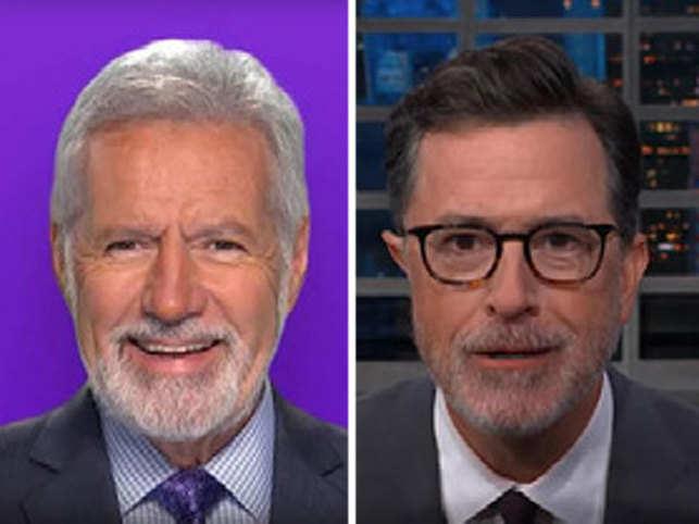 Alex Trebek (left) and Stephen Colbert