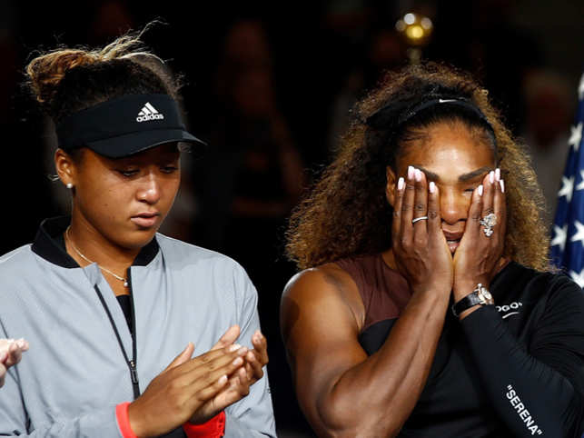 Naomi Osaka and Serena Williams during their 2018 US Open women's singles final match in New York.