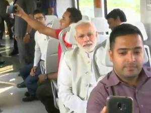 Watch: PM Modi takes a Metro ride to lay foundation stone of convention centre