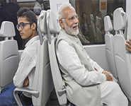 PM Modi travels on Delhi Airport Metro line