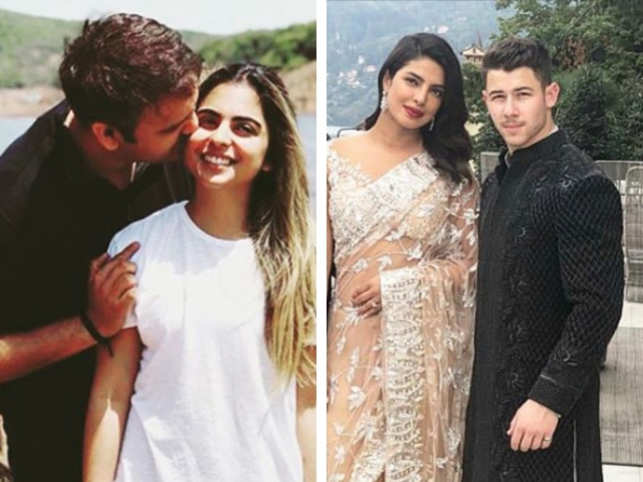 Priyanka Chopra and Nick Jonas were spotted at Isha Ambani's engagement