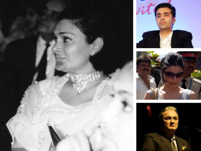 Krishna Raj Kapoor (L), From top (Karan Johar, Soha Ali Khan, Gautam Singhania)