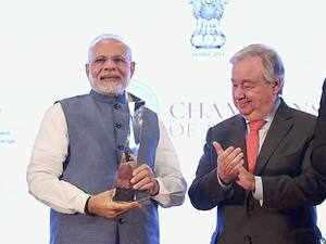 PM Modi receives UN's top environmental honour 'Champions of The Earth'