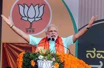 Udupi: Prime minister Narendra Modi addresses an election campaign rally in Udup...