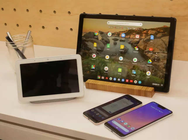 All the leaks were finally confirmed at the Pixel 3 event in New York where Google unveiled their newest flagship Android phone and new devices, including the Pixel Slate and Google Home Hub. Here's all the biggest news that was announced. (In Pic: From left to right, the Google Home Hub, the Pixel Slate and the Pixel 3 and Pixel 3 XL phones.)
