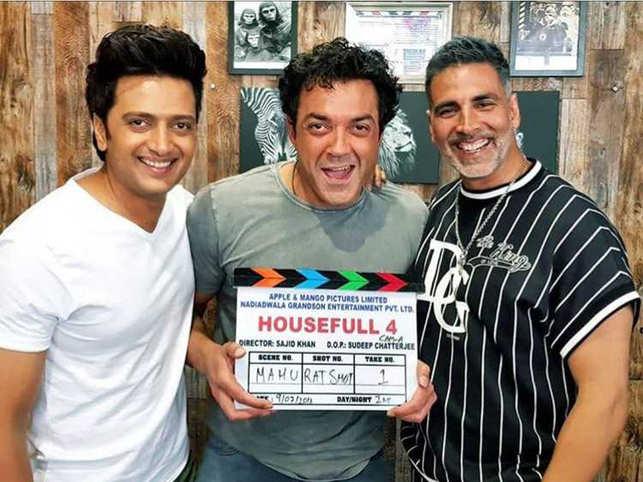(L-R) Riteish Deshmukh, Bobby Deol and Akshay Kumar during the shooting of 'Housefull 4'