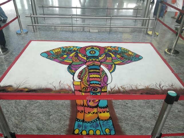 Crystal Rangoli at BLR airport