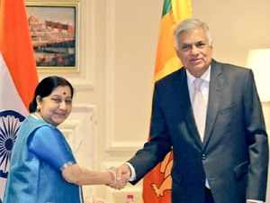 Swaraj, Rajnath call on Sri Lankan PM Wickremesinghe
