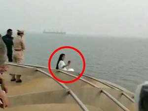 Watch: Maharashtra CM's wife breaks safety norms to click selfie on board cruise