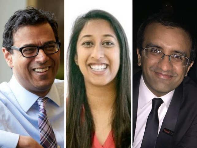 (L-R) Atul Gawande, Divya Nag and Dr Raj Panjabi