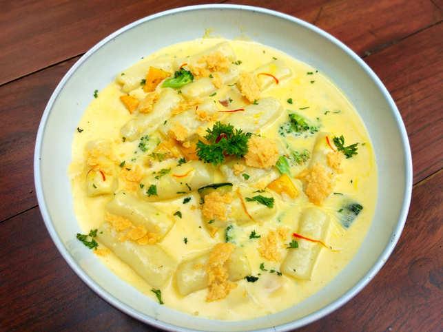 Saffron gnocchi pasta