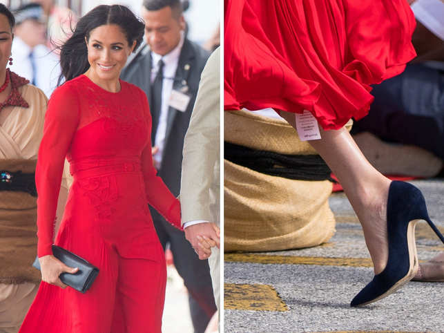 "The royals of Britain made an elegant entry into Tonga. However, Duchess Meghan Markle had an oops moment at the airport itself. Apparently, Markle forgot to remove the tag from her dress. E! Online reported that the tag read ""Returns will only be accepted if this tag remains attached."""