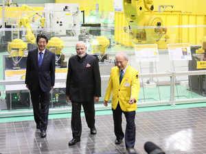 PM Modi, Shinzo Abe visit factory of industrial robot manufacturer in Yamanashi