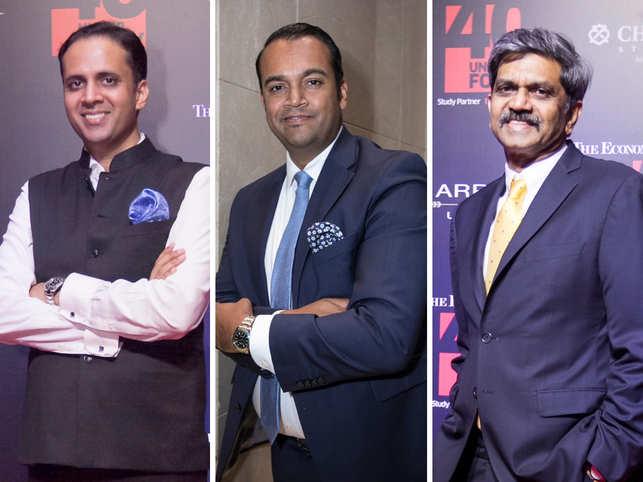 From left: Yash Erande, Rahil Ansari, D Shivkumar