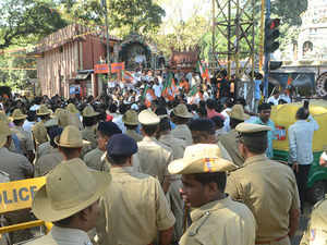 Karnataka: Various groups protesting against TipuJayanti celebrations in Madikeri