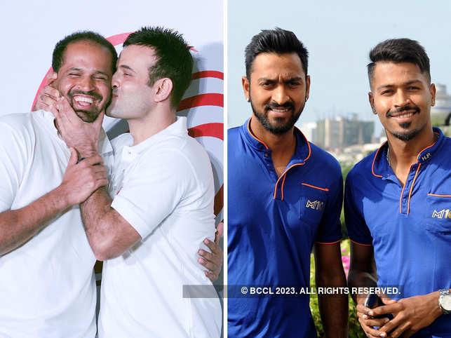 (L-R) Brothers Yusuf & Irfan Pathan, and Hardik & Krunal Pandya