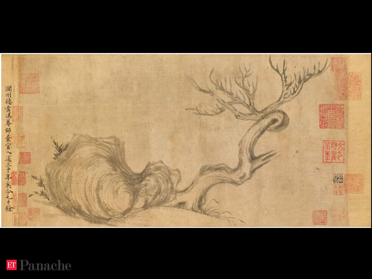 China old picture paper Figure painting long Scroll painting  Ancient literati